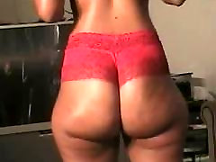 Dominican Booty Jiggling In Red Lace Panties
