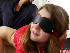 Blindfold teen Alex Mae gets slammed hard