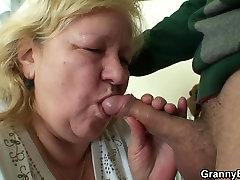 Big titted 70 yo granny tastes his meat