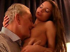 Grandpa gorgeous nude desert rave girlfriend fucking his hard old cock
