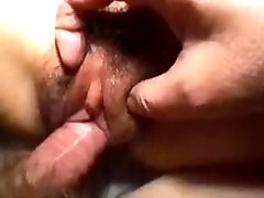 My tight asian hairy gf takes my cock