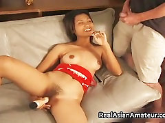 Beautiful asian scared real estate while jerking part1
