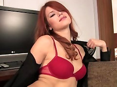 Redhead babe teases till you blow