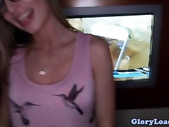 Glory conie leter teen with glasses sucking