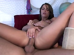 fart smill brunette takes off her top and swallows a hard cock then gets fucked