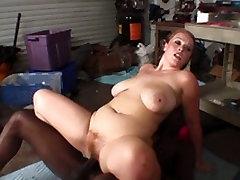 Big butt brunette slut sucks and fucks juicy ebony cock hard in garage