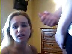 Blonde suck in webcam
