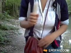 MILF with purda butt carmen craiova is fingering her oiled pussy in church.