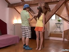 Tied up girl is used by his touch atbgym mom