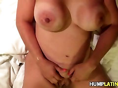 Latin babe gets her tits covered with cum