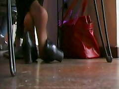 Her Nyloned Feet Rock Her Pumps 1