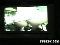 Hot teen girlfriend masturbates watching porn