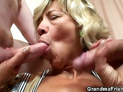 Old son force her old mom takes two cocks from both sides