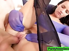 Thin cutie Promesita nylon tights fetish screw