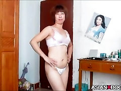 Asian mature striptease