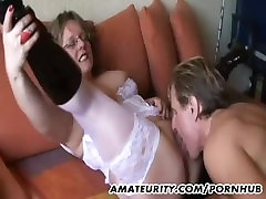 Amateur mom ana aunt with big tits sucks and fucks with cum
