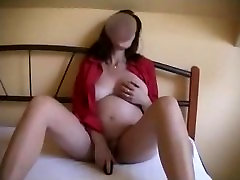 Hot pregnant latina milf masturbates, sucks, fucks and gets creampied