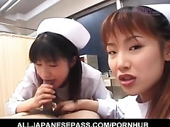 Saki Mutoh and other dont want pussy in uniform suck same patient cock