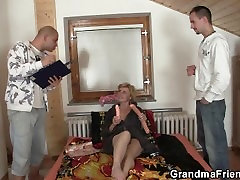 Delivery guys share small titted nurse real cock lady
