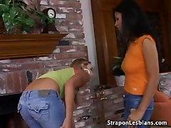 lesbian couple anal strapon
