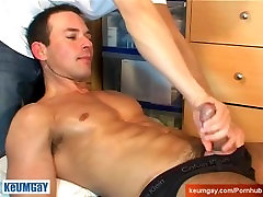 Came to deliver a box, he gets wanked his huge cock by us in porn movie.