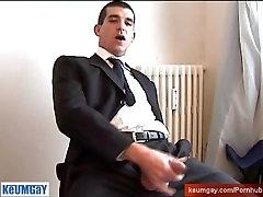 The vendor guy hetero gets wanked his huge cock by me !