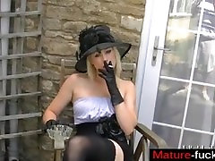 Find her on MATURE-FUCKS.COM - Hot blonde smoking seductively and fla