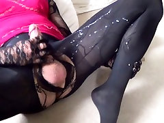 Wanking my tranny cock with huge cum load over my pantyhose and dress