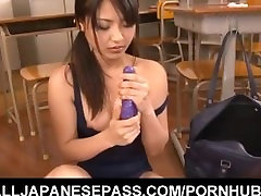 Kanna Harumi plays with sperm and air fitting toys in the classroom