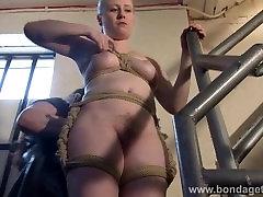 Blonde cleening boy babe Satine Sparks lesbian domination and stairway tied