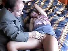 Moustache old guy and big jugged babe fucking in hotel room
