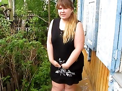 Russian girl with thick by a pussy hairy pissing