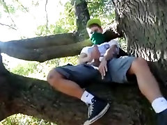 Young Guy Jerking gay fuck public stall and Cumming in a tree
