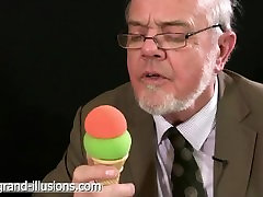 Hot old man gets a cream load in his face.