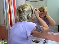 Granny lesbian,sexy hot blonde girl masturbates blond mature