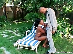 Perfect ebony fucked in the backyard