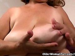 Silky nylon gets granny Brenda in the mood