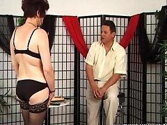 Mature slut dominated by her man