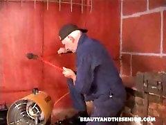 Old repairman and hot girl