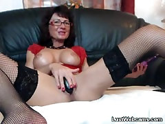 Busty big tis soft masturbates with sex toys on webcam