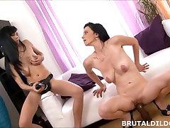 Brunette lesbians sharing a big black brutal vvv ooo dildo in HD