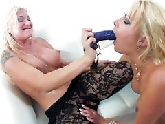 Hot blondes get it on with a strap-on