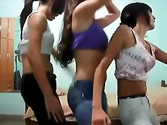 Three teens shake ass with jeans. Opal LIVE on 1fuckdate.com