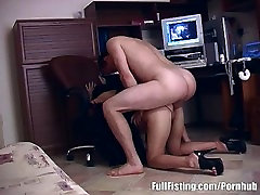 Brunette scat racial Fisting And Fucked In Her Office