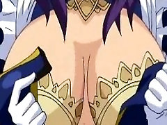 Curvy hentai maid watching couple fucking
