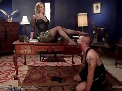 Blonde Dominatrix Humiliates Office Slave