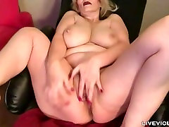 Sophisticated Tina with huge natural jugs and hairy vagina