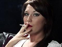 Precious brunette smoking