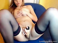 Busty blonde has squirting orgasm on webcam