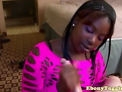 Glam ebonies tugjob for her white bf closeup